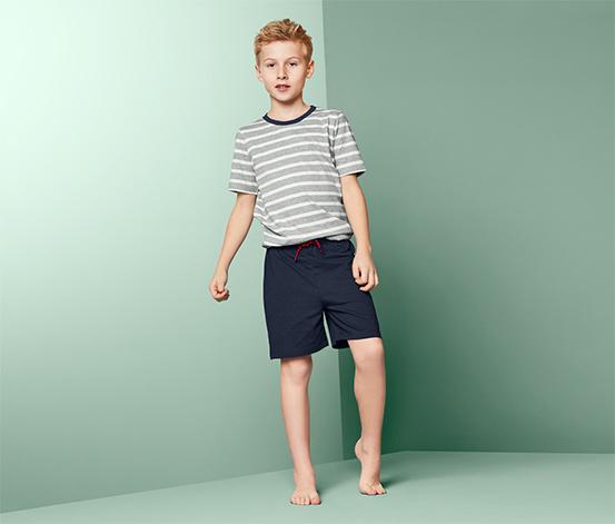 Fiú rövidnadrágos pizsama, sötétkék-szürke