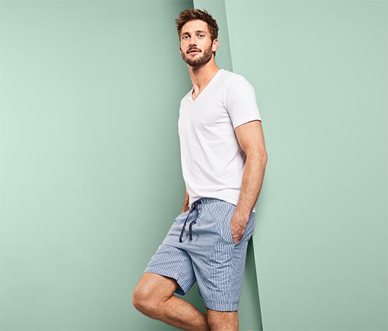 Męskie szorty od piżamy w biało-granatowe paski
