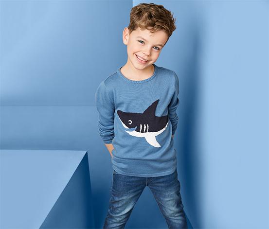 Fiú finom kötésű pulóver, cápa, kék