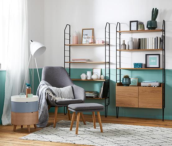 Okrúhly odkladací stolík s úložným priestorom