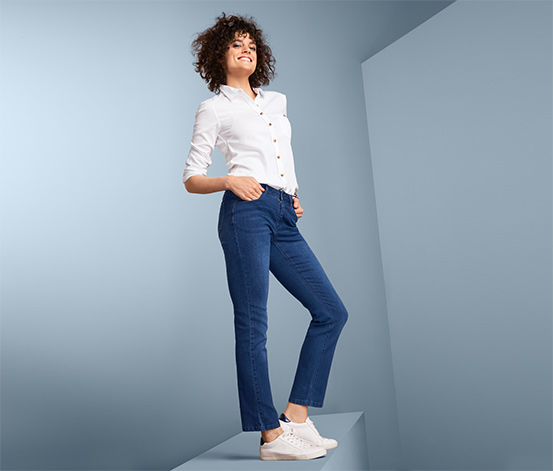 Spodnie dżinsowe straight fit z prostymi nogawkami