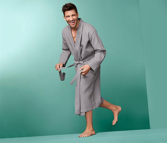 Pánsky kúpací plášť z piké s vafľovou štruktúrou