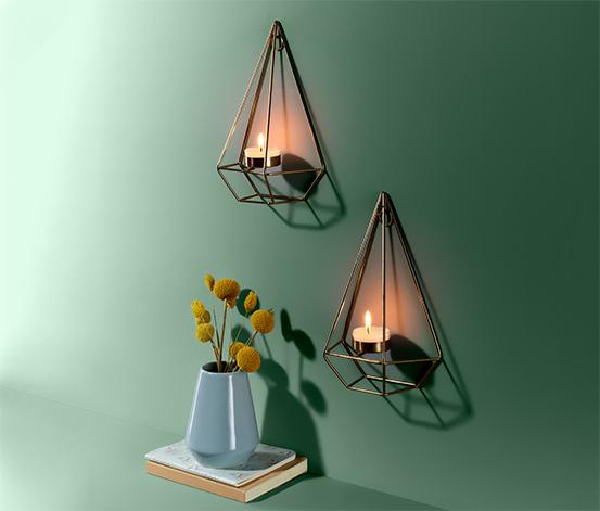 Nástěnné svícny na čajovou svíčku, 2 ks