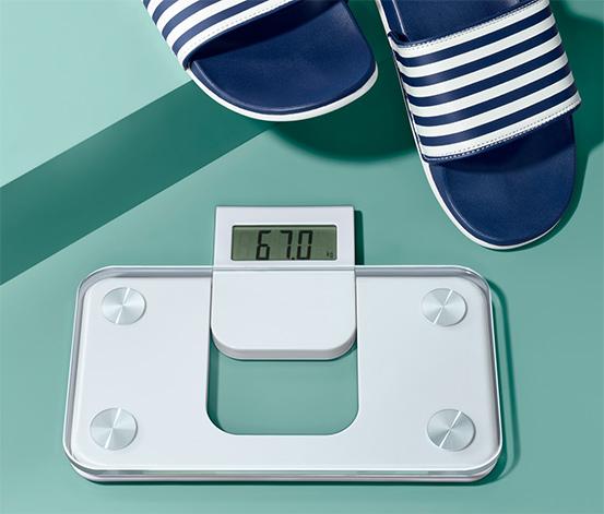 Kompaktowa waga łazienkowa z mechanizmem step-on
