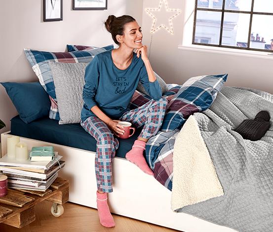 Piżama damska z długim rękawem i spodniami w kratę