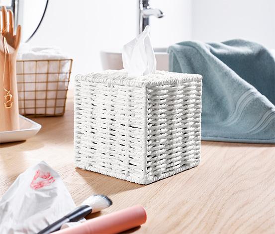 Sześcienny podajnik do chusteczek higienicznych z plecionki