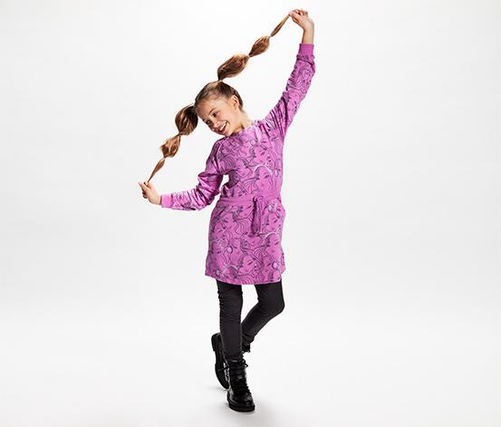 Dziewczęca sukienka dresowa ze ściągaczem w pasie