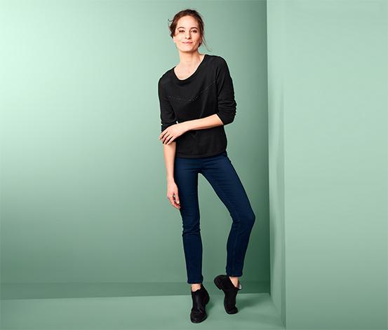 Női finomkötésű pulóver, strasszos, fekete