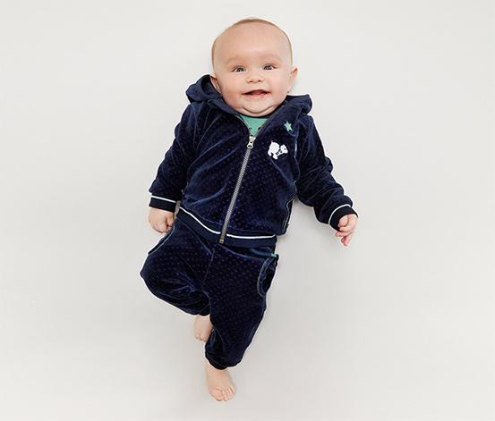 Spodnie niemowlęce z weluru, niebieskie