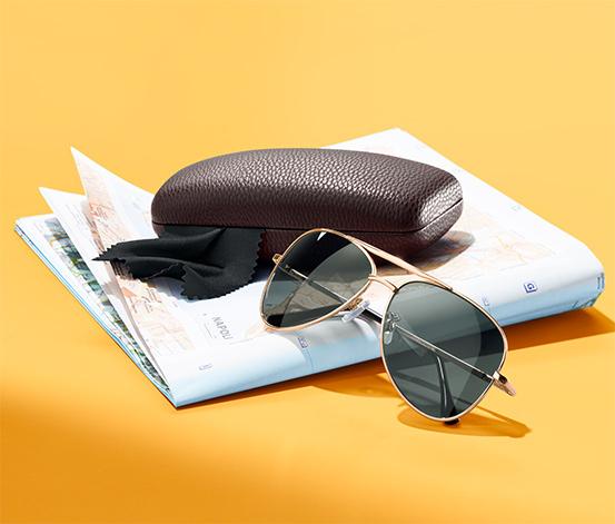 Okulary przeciwsłoneczne aviator z oprawkami w kolorze złotym