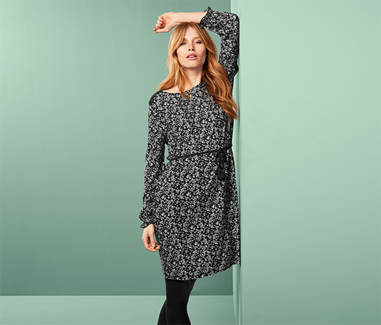 Női ruha, megkötővel, fekete, mintás