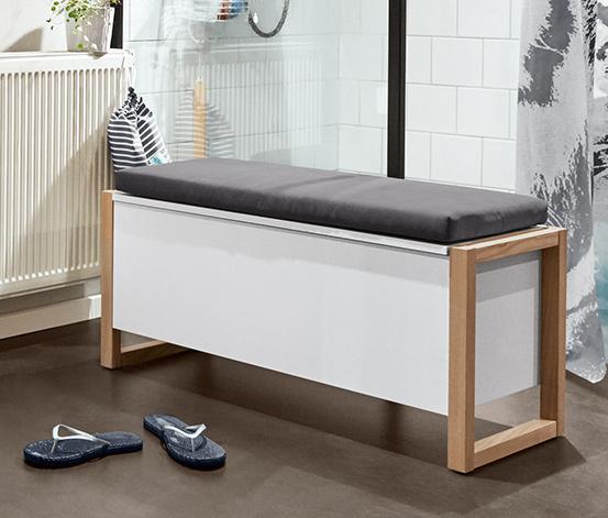 Ławka z funkcją skrzyni z 2 komorami, z tapicerowanym siedziskiem