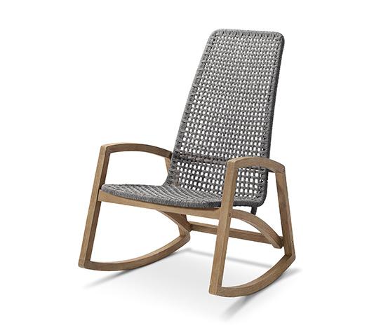 Ogrodowy fotel bujany z drewna eukaliptusowego, z oparciem z ażurowej plecionki
