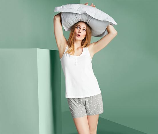 Női rövidnadrágos pizsama, szürke/fehér