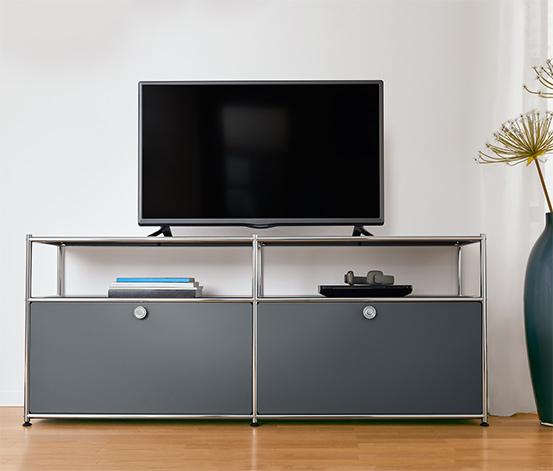 Metalowa niska szafka RTV z dwoma klapami