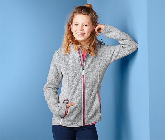 Bluza dziewczęca z dzianiny polarowej i z różowymi akcentami
