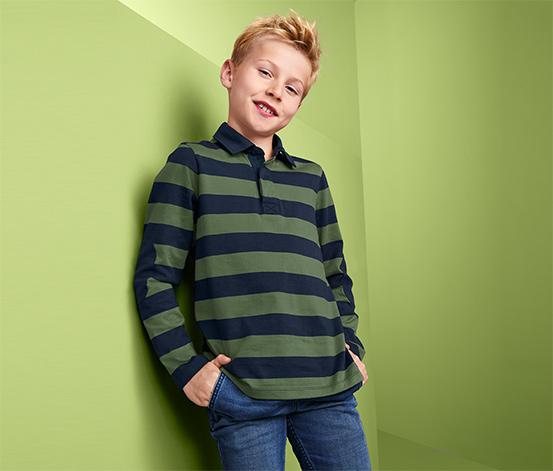 Fiú hosszú ujjú pólóing, zöld, csíkos
