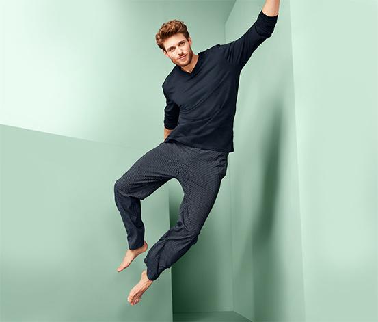 Bawełniana piżama męska ze spodniami w kratkę