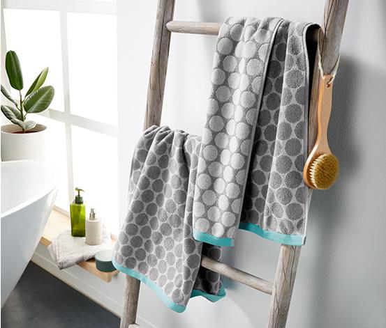 Ręczniki żakardowe ze wzorem w okręgi, 2 sztuki