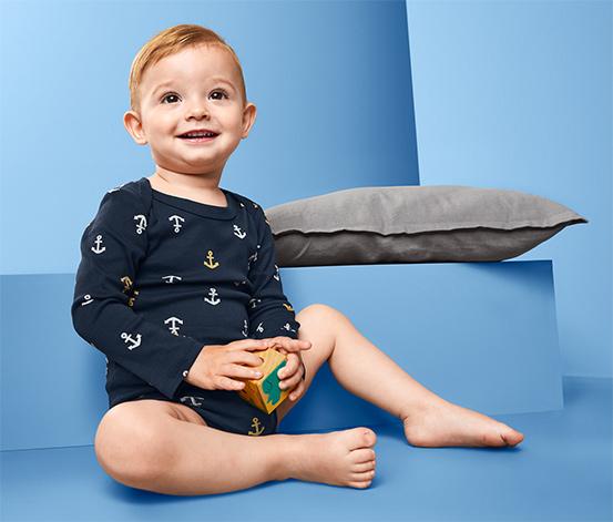 Body niemowlęce z długim rękawem, 4 sztuki