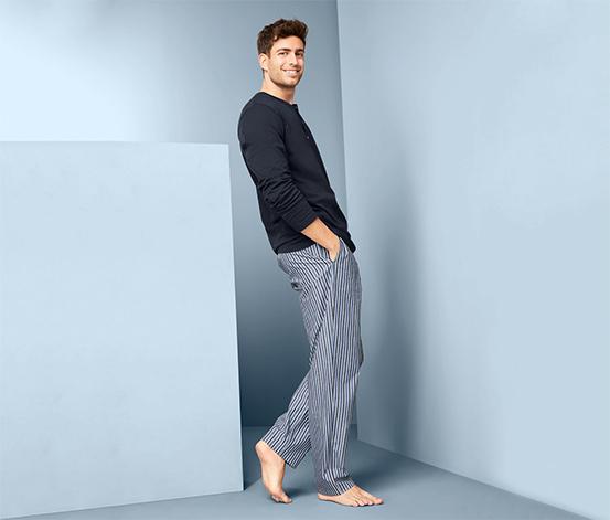 Férfi pizsama, sötétkék, csíkos