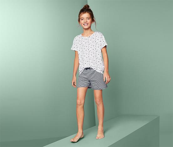 Piżama dziewczęca z koszulką z krótkim rękawkiem i szortami