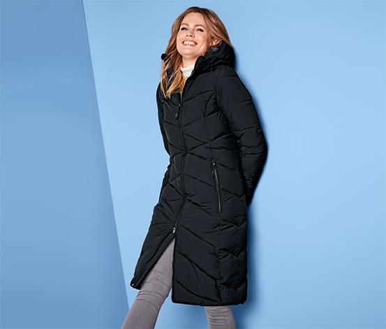 Női hosszú steppelt kabát, fekete
