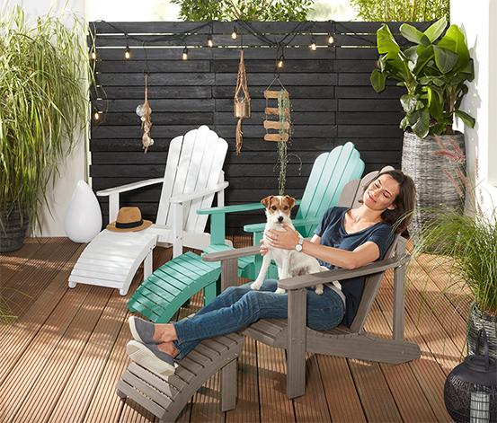Lounge-Sessel mit separatem Fußteil, vintage grey