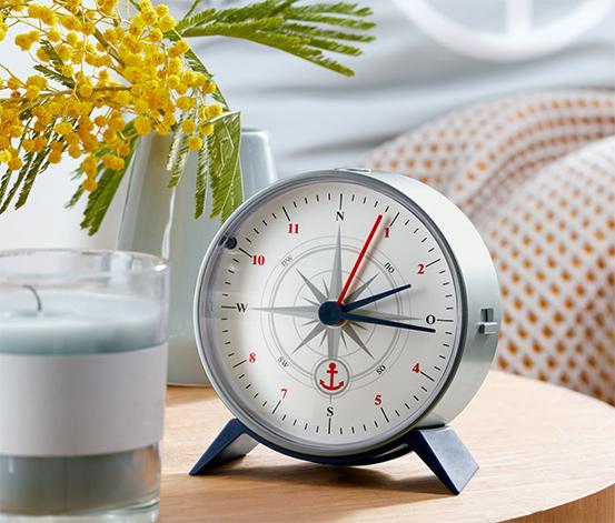 Budzik sterowany sygnałem radiowym stylizowany na kompas
