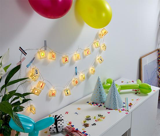 Łańcuch świetlny LED z ozdobnymi literami