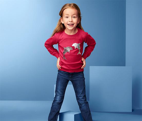 Lány finom kötésű pulóver, flitteres, piros