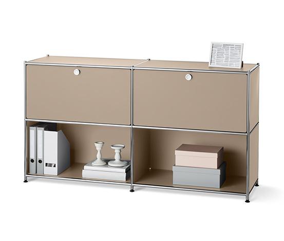 Kovová odkladacia skrinka s 2 nastaviteľnými výklopnými priehradkami