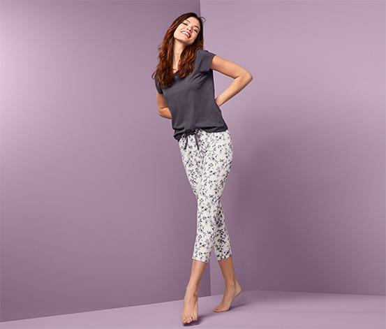 Dwuczęściowa piżama damska z kwiatowym motywem