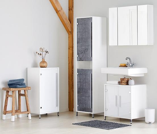 Wysoka szafka łazienkowa ze szklanymi drzwiami