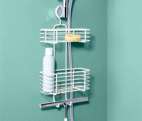 Zuhanykabinba akasztható polc, fehér