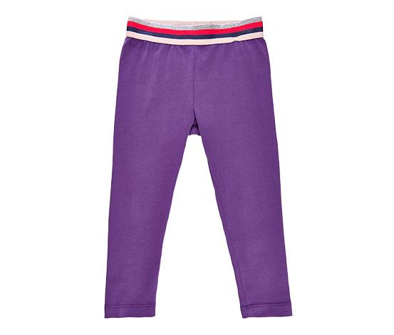 Dziecięce fioletowe legginsy z ozdobnym pasem