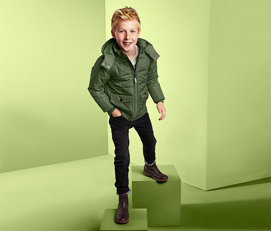 Fiú steppelt termokabát, khaki