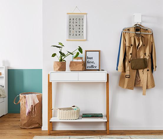 Konsola z szufladami i półką, nogi z dębowego drewna