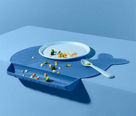 Silikonowa podkładka stołowa dla niemowląt w kształcie wieloryba
