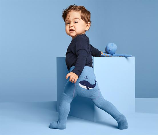 3 kisgyerek harisnyanadrág szettben, kék