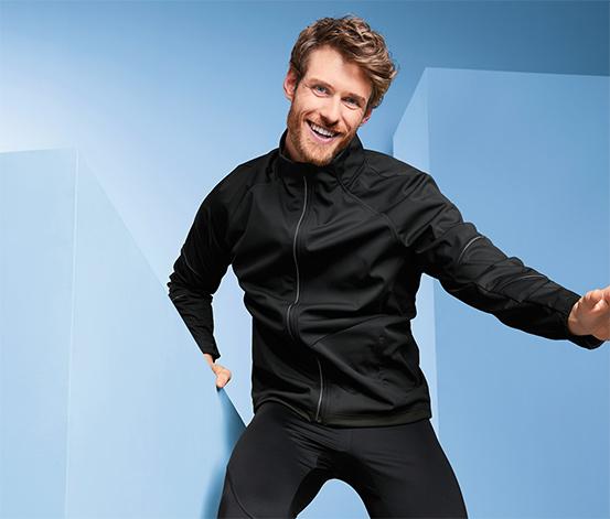 Férfi softshell funkcionális kabát, fekete