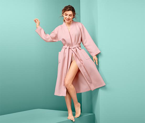 Różowy szlafrok damski z bawełny o splocie piqué
