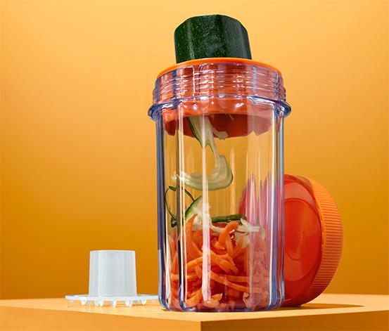 Krájač na špirály zo zeleniny s cestovnou nádobou