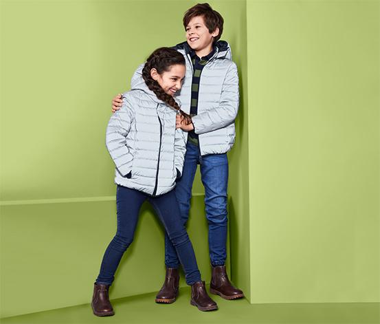 Gyerek steppelt kabát, fényvisszaverő