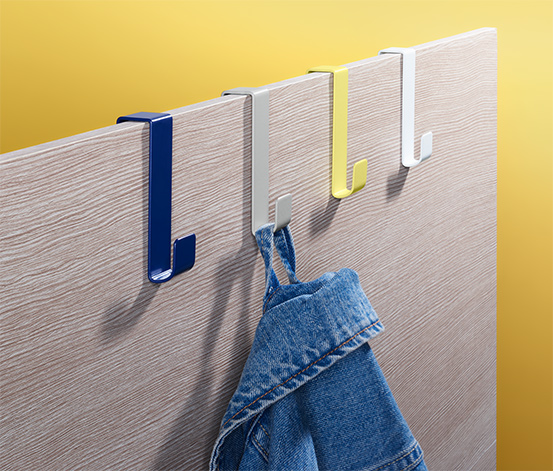 Kolorowe wieszaki na krawędzi drzwi, 4 sztuki