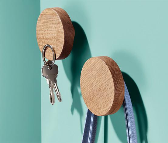 Wieszaki ścienne z litego drewna z wbudowanymi magnesami, 2 sztuki