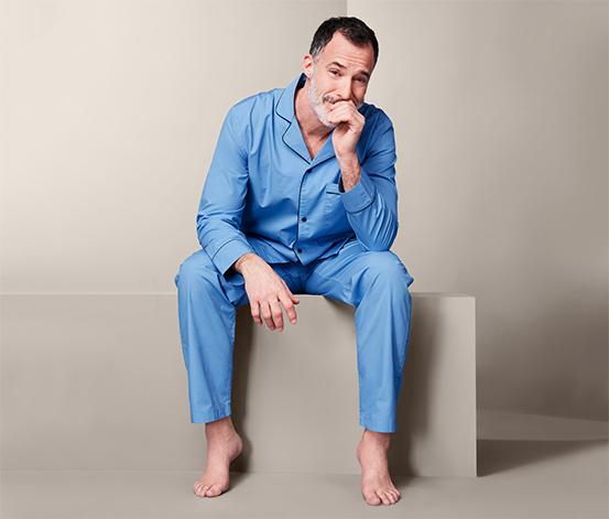 Bawełniana piżama męska ze spodniami i koszulą z długimi rękawami, niebieska