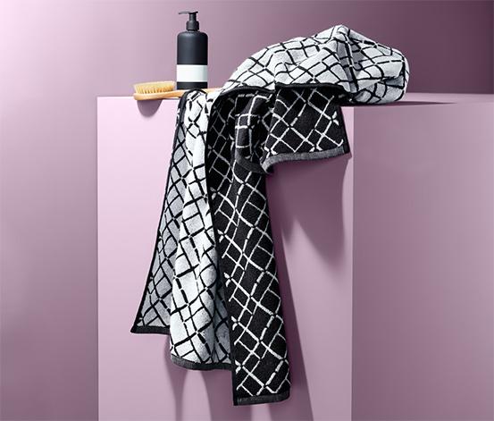 Żakardowy ręcznik kąpielowy w kratę
