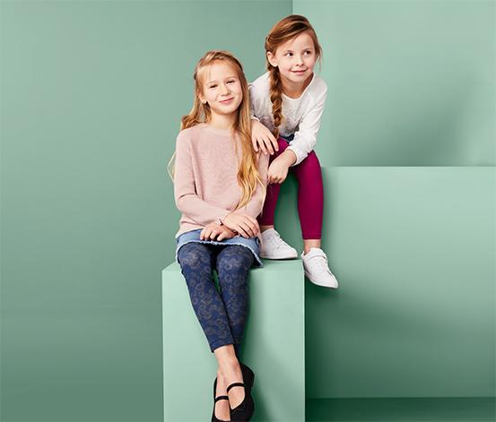 Legginsy dziewczęce z bawełną ekologiczną, 2 pary
