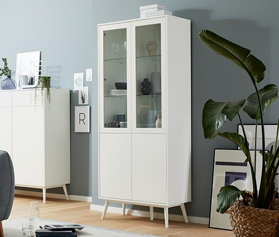 Vitrines szekrény, 2 ajtós, fehér